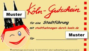 Muster-Gutschein für eine Stadtführung durch Köln